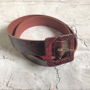 Free People Red Snake Print 100% Leather belt